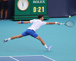 March 24, 2019 - Miami Gardens, Florida, United States Of America - MIAMI GARDENS, FLORIDA - MARCH 24:  Novak Djokovic on Day 7 of the Miami Open Presented by Itau at Hard Rock Stadium on March 24, 2019 in Miami Gardens, Florida..People: Novak Djokovic. (Credit Image: © SMG via ZUMA Wire)
