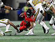 Atlanta Falcons running back Devonta Freeman (24) runs and dives with the ball in a week 14 NFL football game against the New Orleans Saints on Thursday, Dec. 7, 2017 in Atlanta, GA. (Mike Zarrilli/AP Images for Panini, via AP)