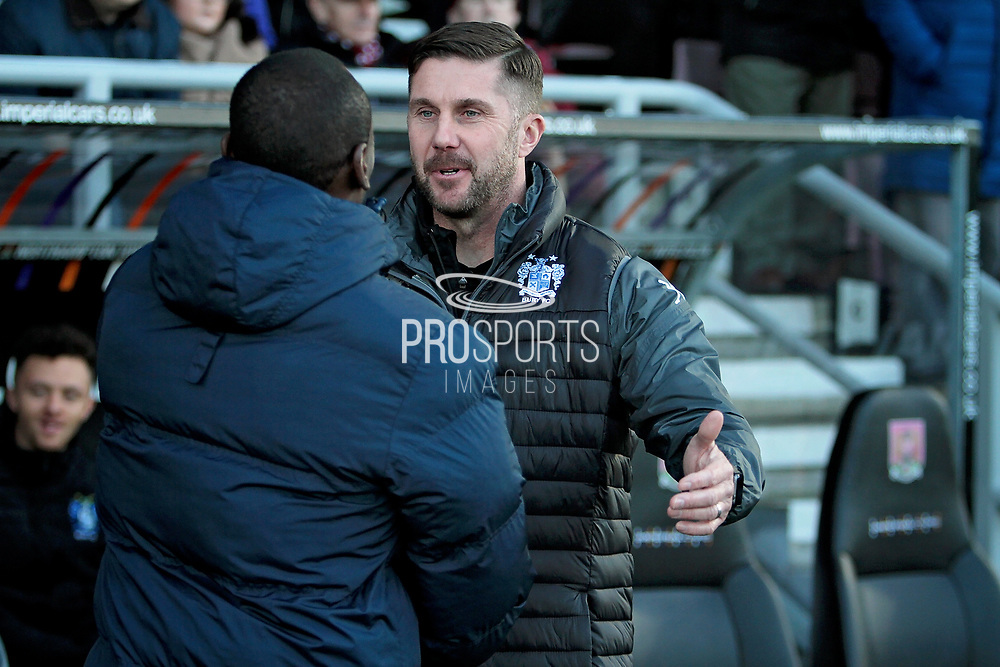 CAPTION CORRECTION Bury manager Chris Lucketti greets his Northampton counterpart before the EFL Sky Bet League 1 match between Northampton Town and Bury at Sixfields Stadium, Northampton, England on 25 November 2017. Photo by Nigel Cole.