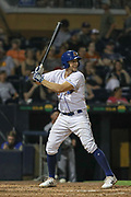 Durham Bulls third baseman Kevin Padlo (15) at bat during the MiLB International Championship baseball game against the Columbus Clippers, Thursday, September 12, 2019, in Durham, N.C. The Clippers beat the Bulls 6-2 to complete a three-game sweep of the two-time defending champion. (Brian Villanueva/Image of Sport)