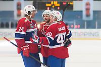 Ishockey<br /> 17. April 2015<br /> Landskamp<br /> Bergenshallen<br /> Norge - Latvia 2 - 1<br /> Andreas Martinsen (L) , Jonas Holøs (M) og Ken Andre Olimb (R) , Norge jubler for scoring<br /> Foto: Astrid M. Nordhaug