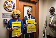 NAACP President,  Cornell William Brooks and other members of the NAACP and supporters,  staged a sit-in in the hallway of Sessions' office.  A group of six  occupied Sessions' office a few weeks ago . A few hours after tresspasing charges against them were dropped by an judge in Alabama, they returned to Sessions' office and were arrested again.