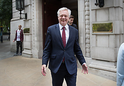 © Licensed to London News Pictures. 15/08/2017. London, UK. Brexit Secretary David Davis leaves television studios near Parliament. Mr Davis has suggested that the UK could have a temporary customs union with the rest of the EU after Brexit. Photo credit: Peter Macdiarmid/LNP