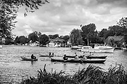 Walton, Great Britain,  Walton Reach Regatta, Walton on Thames, Skiff and Punting Regatta  <br /> <br /> Saturday  19/08/2017<br /> <br /> [Mandatory Credit. Peter Spurrier/Intersport Images] River Thames .......... Summer, Sport, Dark, Stormy Skies, Skilful, ..... Black and White. Conversion from Digital.