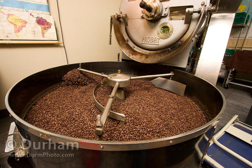 Coffee being roasted in a 1959 era roasting machine.