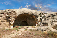 Picture & image of cave dwellings, Uplistsikhe (Lords Fortress) troglodyte cave city, near Gori, Shida Kartli, Georgia. UNESCO World Heritage Tentative List<br /> <br /> Inhabited from the early Iron age to the late middle ages Uplistsikhe cave city eas, during the Roman & Hellenistic period, home to around 20,000 people. .<br /> <br /> Visit our MEDIEVAL PHOTO COLLECTIONS for more   photos  to download or buy as prints https://funkystock.photoshelter.com/gallery-collection/Medieval-Middle-Ages-Historic-Places-Arcaeological-Sites-Pictures-Images-of/C0000B5ZA54_WD0s<br /> <br /> Visit our REPUBLIC of GEORGIA HISTORIC PLACES PHOTO COLLECTIONS for more photos to browse, download or buy as wall art prints https://funkystock.photoshelter.com/gallery-collection/Pictures-Images-of-Georgia-Country-Historic-Landmark-Places-Museum-Antiquities/C0000c1oD9eVkh9c