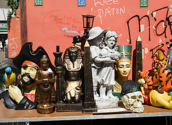 Detail of unusual items for sale at the famous Barras weekend outdoor market in Glasgow Scotland