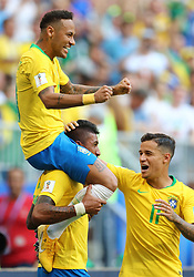 Brazil's Neymar celebrates scoring his side's first goal of the game