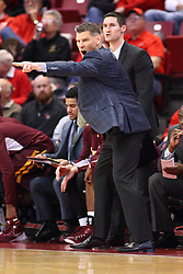 06 January 2016: Porter Moser shows some motions and some sideline antics during the Illinois State Redbirds v Loyola-Chicago Ramblers at Redbird Arena in Normal Illinois (Photo by Alan Look)