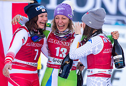 18.12.2018, Saslong, St. Christina, ITA, FIS Weltcup Ski Alpin, Abfahrt, Damen, Flower Zeremonie, im Bild v.l. Ramona Siebenhofer (AUT, 3. Platz), Ilka Stuhec (SLO, 1. Platz), Nicol Delago (ITA, 2. Platz) // f.l. third placed Ramona Siebenhofer of Austria race winner Ilka Stuhec of Slovenia second placed Nicol Delago of Italy during the winner Ceremony for the ladie's Downhill of FIS ski alpine world cup at the Saslong in St. Christina, Italy on 2018/12/18. EXPA Pictures © 2018, PhotoCredit: EXPA/ Johann Groder