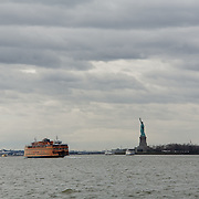 Staten Island Ferry and the Statue of Liberty.