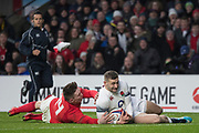 Twickenham, Surrey. UK.  Jonny MAY, touches down, [Wales, Josh ADAMS] for the first try, during the Six Nations Rugby Match, England vs Wales RFU Stadium, Twickenham. Surrey, England. on Saturday 10.02.18<br /> <br /> <br /> [Mandatory Credit Peter SPURRIER/Intersport Images]