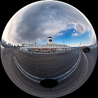 Mirror Ball view of the MV World Odyssey docked at the Osanbashi Pier in Yokohama, Japan. Composite of 9 images taken with a  Fuji X-T1 camera and Bower 8 mm f/2.8 fisheye lens (ISO 200, 35 mm, f/11, 1/125 sec) using a 360° Mindarin Astro rotating tripod head. Raw images processed with Capture One Pro and the Mirror Ball view created using AutoPano Giga Pro.