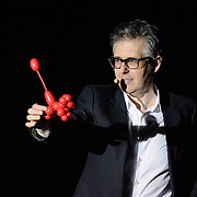 "Ira Glass, Monica Bill Barnes, and Anna Bass performing in ""Three Acts, Two Dancers, One Radio Host""l at The Music Hall in Portsmouth, NH. April 2016"