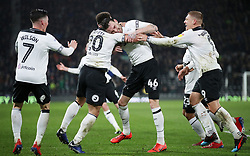 Derby County's Scott Malone celebrates scoring his side's second goal of the game during the Sky Bet Championship match at Pride Park, Derby.