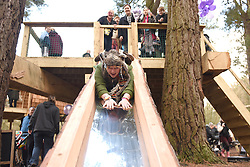 © Licensed to London News Pictures. 30/01/2016. Slough, UK. Caroline Adams, 23, at the formal opening of a wooden treehouse in memory of murder victim Alice Adams in Black Park, Wexham on Saturday 30th January. The 20-year-old was stabbed to death in August 2011 with her friend and co-worker Tibor Vass, at a staff flat behind the Radisson Edwardian Hotel near Heathrow Airport. The murderer was Attila Ban, aged 32,  who also worked at the hotel as a receptionist. After the death of Alice, her family created a charity called, Alice Adams Foundation, to raise money to build the treehouse. Photo credit should read: Emma Sheppard/LNP