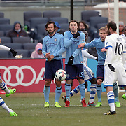 NEW YORK, NEW YORK - March 18: Laurent Ciman #23 of Montreal Impact takes a free kick during the New York City FC Vs Montreal Impact regular season MLS game at Yankee Stadium on March 18, 2017 in New York City. (Photo by Tim Clayton/Corbis via Getty Images)