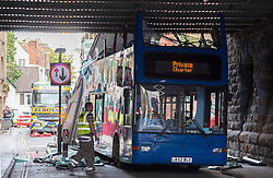 © Licensed to London News Pictures; 10/09/2020; Bristol, UK. Emergency services work to free a bus that crashed into a low bridge over Frogmore Street in Bristol City Centre. No one was hurt. It is the second crash of a bus under a low bridge that has happened today, the first one being in Winchester where several children were seriously hurt. Photo credit: Simon Chapman/LNP.