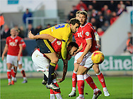 Cristhian Stuani, Derrick Wiliams during the Sky Bet Championship match between Bristol City and Middlesbrough at Ashton Gate, Bristol, England on 16 January 2016. Photo by Daniel Youngs.