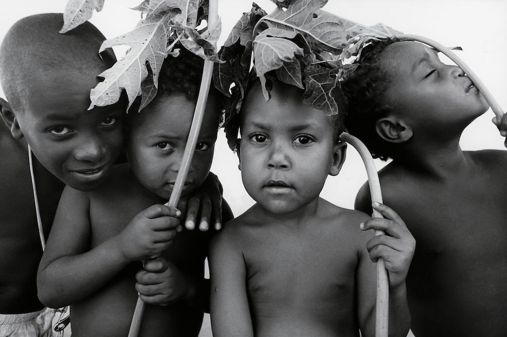 The children of some Habitat homeowners outside of Rio de Janeiro using papaya leaves as umbrellas in the hot Brazilian sun.