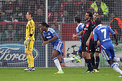23.11.2011, BayArena, Leverkusen, Germany, UEFA CL, Gruppe E, Bayer 04 Leverkusen (GER) vs Chelsea FC (ENG), im Bild Torjubel/ Jubel nach dem 0:1 durch Didier Drogba (Chelsea #11) (M). Bernd Leno (Torwart Leverkusen/Leihe aus Stuttgart), Manuel Friedrich (Leverkusen #5) und Ömer Toprak (Leverkusen #21) entaeuscht/ entäuscht / traurig // during the football match of UEFA Champions league, group E, between Bayer Leverkusen (GER) and FC Chelsea (ENG) at BayArena, Leverkusen, Germany on 2011/11/23.EXPA Pictures © 2011, PhotoCredit: EXPA/ nph/ Mueller..***** ATTENTION - OUT OF GER, CRO *****