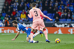 December 8, 2018 - Barcelona, Catalonia, Spain - FC Barcelona defender Gerard Pique (3) and RCD Espanyol midfielder Victor Sanchez (4) during the match RCD Espanyol against FC Barcelona, for the round 15 of the Liga Santander, played at RCD Espanyol Stadium  on 8th December 2018 in Barcelona, Spain. (Credit Image: © Mikel Trigueros/NurPhoto via ZUMA Press)