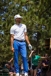 July 15, 2018 - Stateline, Nevada, U.S - Golden State Warriors All-Star guard, STEPHEN CURRY, watches his drive on the 17th hole during the 29th annual American Century Championship at the Edgewood Tahoe Golf Course in Stateline, Nevada, on Sunday, July 15, 2018. (Credit Image: © Tracy Barbutes via ZUMA Wire)