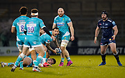 Warriors scrum-half Francois Hougaard throws out a pass during the Gallagher Premiership match Sale Sharks -V- Worcester Warriors at The AJ Bell Stadium, Greater Manchester,England United Kingdom, Friday, January 08, 2021. (Steve Flynn/Image of Sport)