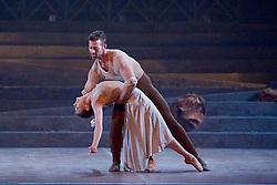 English National Ballet <br /> Triple Bill<br /> at Sadler's Wells, London, Great Britain <br /> rehearsal <br /> 7th September 2015 <br /> <br /> No Man's Land <br /> <br /> by Liam Scarlett <br /> <br /> Alina Cojocaru <br /> James Forbat <br /> <br /> <br /> <br /> Photograph by Elliott Franks <br /> Image licensed to Elliott Franks Photography Services