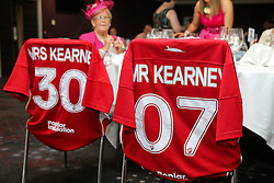 Dated Bristol City shirts belonging to the newly married Mr and Mrs Kearney after they held their reception at Ashton Gate during the game - Rogan Thomson/JMP - 30/07/2016 - FOOTBALL - Ashton Gate Stadium - Bristol, England - Bristol City v Portsmouth - Pre-Season Friendly.