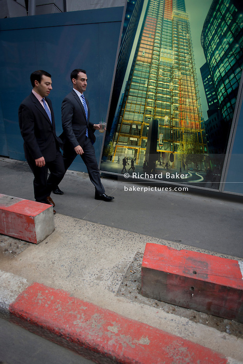 Two Londoners walk past an illustration of future office development of the Leadenhall Building by the Brookfield Multiplex construction company at 100 Bishopsgate in the financial district City of London. Looking up to see the rise of the mammoth buildings already in use, the newest site grows upwards to occupy the empty location. The Brookfield Multiplex builds, engineers, develops and maintains property and infrastructure around the world. Over the past five decades we have successfully completed over 726 major projects, with a combined value of over $27.5 billion in Australasia, Europe, the Middle East and Asia. The 100 Bishopsgate development will become one of the most significant new commercial office buildings in the City comprising 3 buildings totalling c815,000sf NIA.
