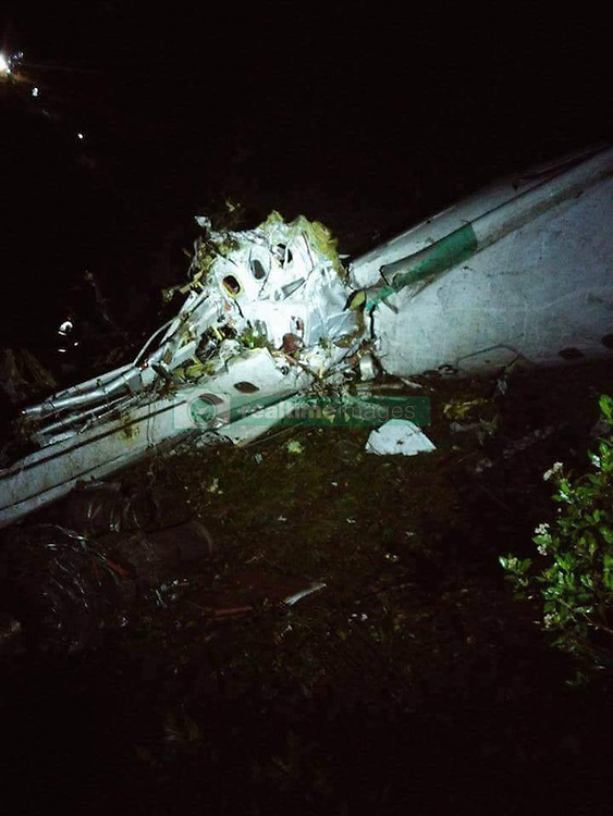 November 28, 2016 - Medellin, Columbia - Debris of the plane carrying the Brazilian football team Chapecoense, at the site of the plane crashed in a mountainous area outside the Colombian city of Medellin, in the department of Antioquia, Colombia. An airplane with 72 people on board, including players from a Brazilian football team, has crashed in Colombia. (Credit Image: © Noticias Telemedellin/Xinhua via ZUMA Wire)
