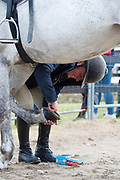 17/08/2017 Pauline Dahill Lisomore doing some last minute repairs at the Connemara Pony Show in Clifden. Photo:Andrew Downes, xposure