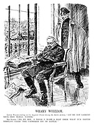 """Weary William. Little Willie (calling on his Imperial Parent during the Berlin strikes). """"You're not looking your best to-day, father."""" The Kaiser. """"No, my boy; I think I want a rest from what our friend Hertling calls 'The unbroken joy of battle.'"""" (Wilhelm II slumps in his chair after reading the newspapers and outside crowds gather with Give Us Peace and Give Us Food during WW1)"""