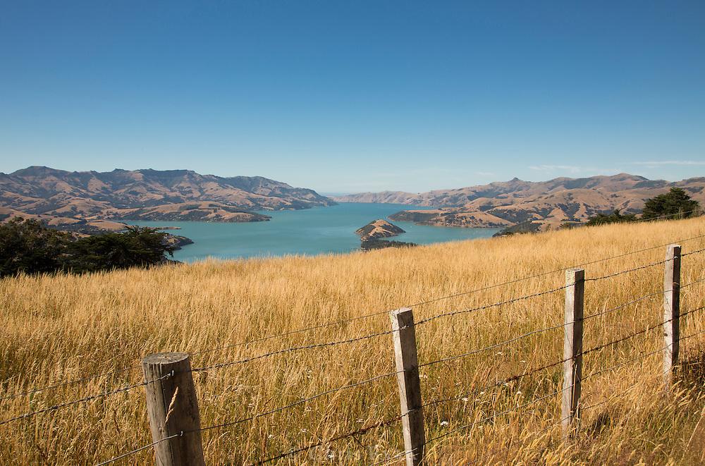 Hills around Akaroa Bay, South Island, New Zealand