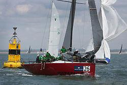Brewin Dolphin Scottish Series 2014, the start of an International IRC competition racing on the Solent off Cowes and hosted by the RORC.<br /> <br /> Marc Gilmcher of the Irish Team on Catapult, a Ker 40, USA 61253<br /> <br /> Credit: Marc Turner