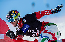 Aaron March of Italy competes during Qualification Run of Men's Parallel Giant Slalom at FIS Snowboard World Cup Rogla 2015, on January 31, 2015 in Course Jasa, Rogla, Slovenia. Photo by Vid Ponikvar / Sportida