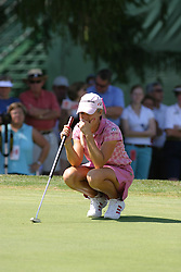 04 Sep 2005<br /> <br /> Natalie Gulbis eyes up her putt on the 9th.<br /> <br /> LPGA State Farm Classic.  The Rail Golf Course, Springfield (Sherman) Illinois