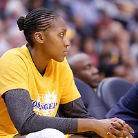 15 August 2014: Los Angeles Sparks forward/center Sandrine Gruda (7) is seen on the bench during the Los Angeles Sparks 77-65 victory over the Seattle Storm, at the Staples Center, Los Angeles, California, USA.