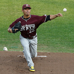 Jun 25, 2013; Omaha, NE, USA; Mississippi State Bulldogs starting pitcher Luis Pollorena (22) delivers a pitch during the first inning in game 2 of the College World Series finals against the UCLA Bruins at TD Ameritrade Park. Mandatory Credit: Derick E. Hingle-USA TODAY Sports