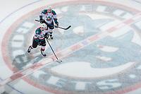 KELOWNA, CANADA - APRIL 8: Lucas Johansen #7 and Cal Foote #25 of the Kelowna Rockets skate across centre ice against the Portland Winterhawks on April 8, 2017 at Prospera Place in Kelowna, British Columbia, Canada.  (Photo by Marissa Baecker/Shoot the Breeze)  *** Local Caption ***