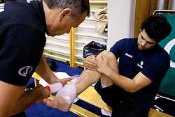 Physiotherapist Teo Djekic and Saso Ozbolt during practice session of Slovenian National Basketball team during training camp for Eurobasket Lithuania 2011, on July 12, 2011, in Arena Vitranc, Kranjska Gora, Slovenia. (Photo by Vid Ponikvar / Sportida)