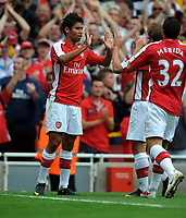 Eduardo Celebrates Scoring 2nd goal<br /> Arsenal 2009/10<br /> Arsenal V Rangers 02/08/09 at the Emirates Stadium<br /> The Emirates Cup 2009<br /> Photo Robin Parker Fotosports International