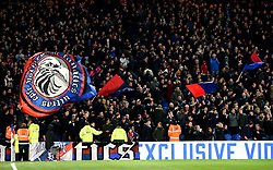 """Crystal Palace fans in the stands react after the final whistle during the Premier League match at Selhurst Park, London. PRESS ASSOCIATION Photo. Picture date: Saturday January 13, 2018. See PA story SOCCER Palace. Photo credit should read: Daniel Hambury/PA Wire. RESTRICTIONS: EDITORIAL USE ONLY No use with unauthorised audio, video, data, fixture lists, club/league logos or """"live"""" services. Online in-match use limited to 75 images, no video emulation. No use in betting, games or single club/league/player publications"""