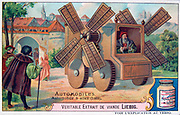 History of the Automobile: Idea for a carriage powered by wind, 1460.   Liebig Trade Card c1910.  Transport Car Power Wind