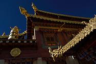 Roof decoration of the Tibetan Lamaistic Buddhist Songtsam Monastery, Shangri-La or Xianggelila,  Zhongdian County, Yunnan, China