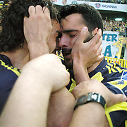Fenerbahce's Daniel Gonzalez GUIZA (R) celebrate his goal with Mehmet TOPUZ (L) during their Turkish superleague soccer derby match Fenerbahce between Trabzonspor at the Sukru Saracaoglu stadium in Istanbul Turkey on Sunday 16 May 2010. Photo by TURKPIX