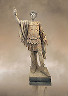 Roman marble sculpture with an unrelated head  of Lucius Verus, body 50-75 AD head 160-169 AD, inv 6081 - Farnese Collection, Naples Museum of Archaeology, Italy ..<br /> <br /> If you prefer to buy from our ALAMY STOCK LIBRARY page at https://www.alamy.com/portfolio/paul-williams-funkystock/greco-roman-sculptures.html . Type -    Naples    - into LOWER SEARCH WITHIN GALLERY box - Refine search by adding a subject, place, background colour, museum etc.<br /> <br /> Visit our CLASSICAL WORLD HISTORIC SITES PHOTO COLLECTIONS for more photos to download or buy as wall art prints https://funkystock.photoshelter.com/gallery-collection/The-Romans-Art-Artefacts-Antiquities-Historic-Sites-Pictures-Images/C0000r2uLJJo9_s0c