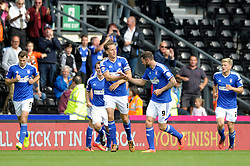 Ipswich Town's Christophe Berra celebrates with his team mates after scoring. - Photo mandatory by-line: Dougie Allward/JMP - Mobile: 07966 386802 30/08/2014 - SPORT - FOOTBALL - Derby - iPro Stadium - Derby County v Ipswich Town - Sky Bet Championship
