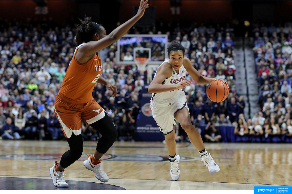 UNCASVILLE, CONNECTICUT- DECEMBER 4:  Napheesa Collier #24 of the Connecticut Huskies drives to the basket while defended by Joyner Holmes #24 of the Texas Longhorns during the UConn Huskies Vs Texas Longhorns, NCAA Women's Basketball game in the Jimmy V Classic on December 4th, 2016 at the Mohegan Sun Arena, Uncasville, Connecticut. (Photo by Tim Clayton/Corbis via Getty Images)